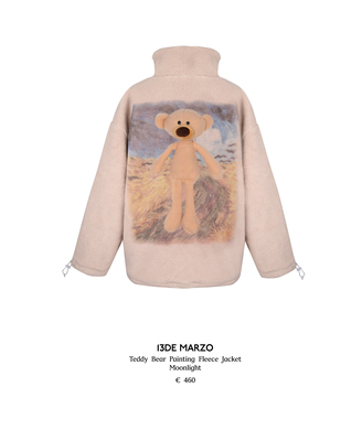 13DE MARZO Teddy Bear Painting Fleece Jacket